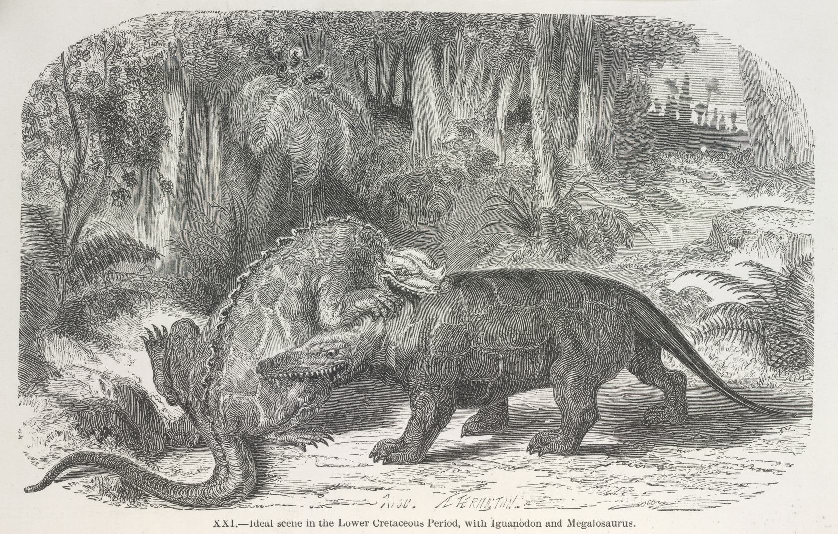 file dinosaurs fighting the world before the deluge 1865 plate