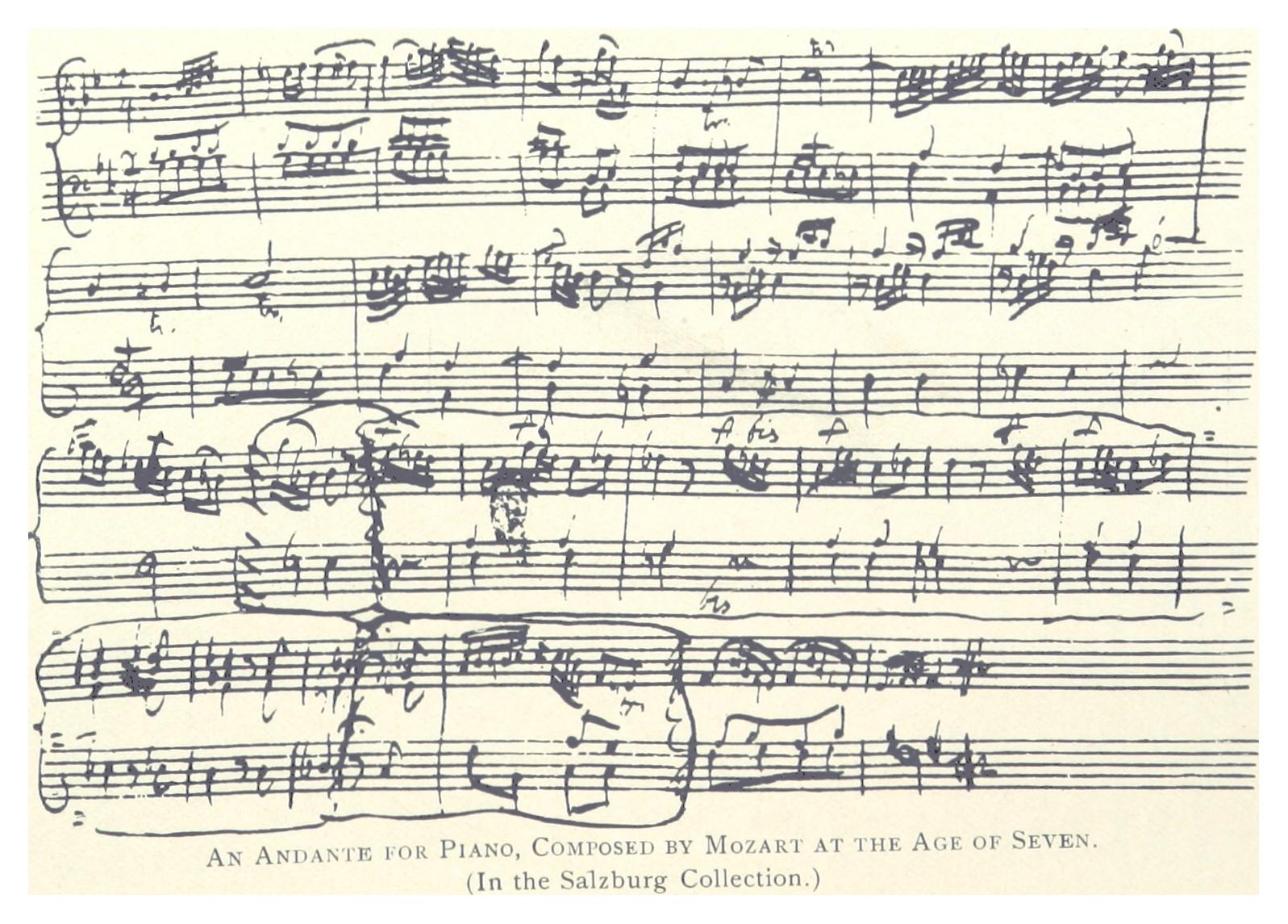 ELSON(1891) p137 Notenblatt von MOZART, in der Salzburger Sammlung.jpg