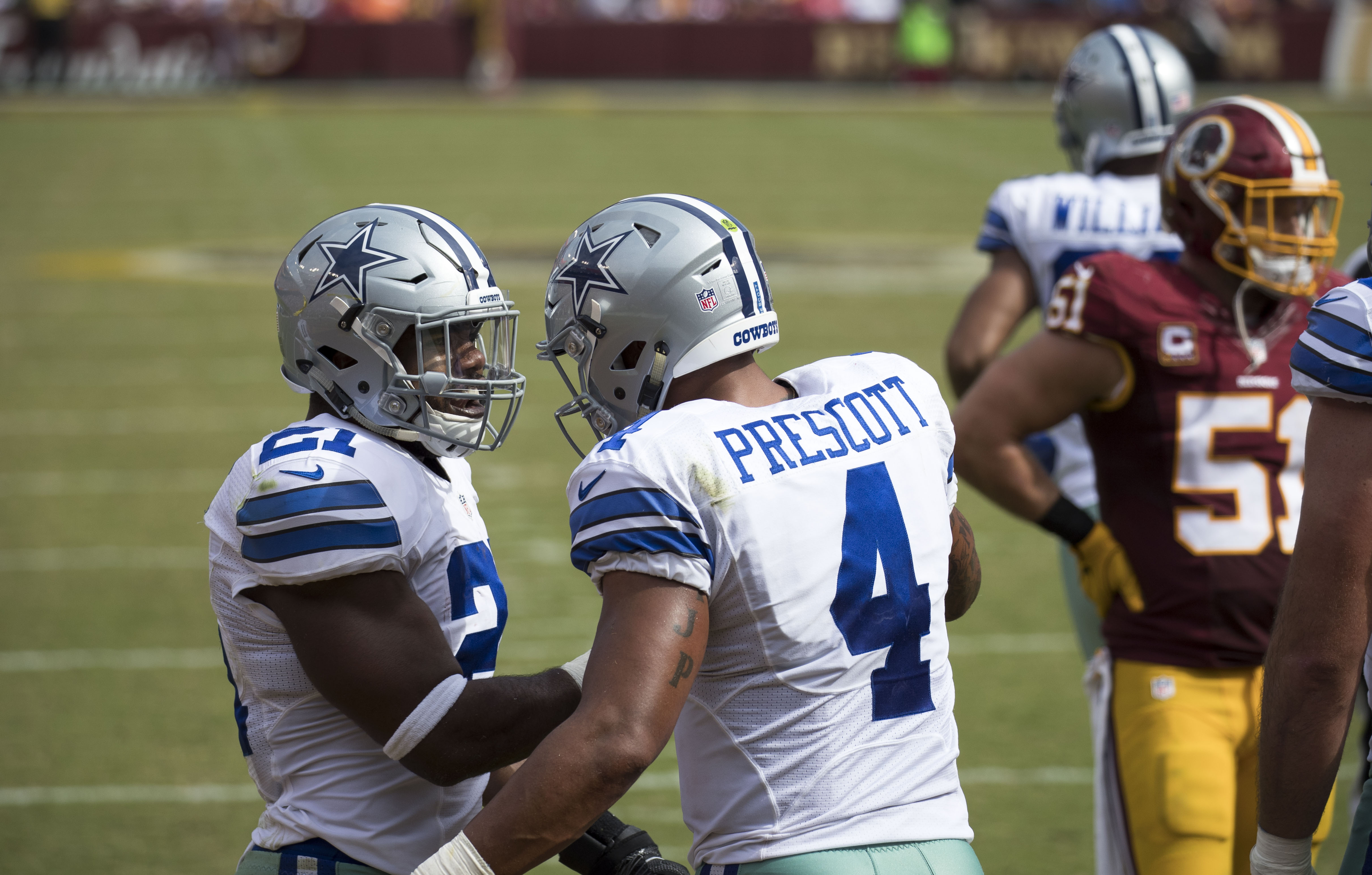 Dak Prescott and Ezekiel Elliott during the Cowboys at Redskins game in  September. d463239ab