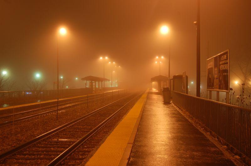 File:Evanston Central Street Metra at night.jpg