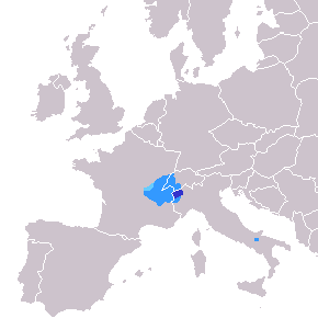 Gallo-Romance language spoken in France, Italy and Switzerland