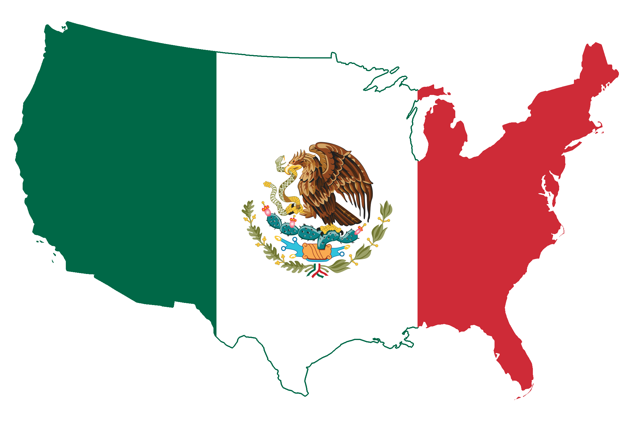 File Flag Map Of The United States Mexico Png