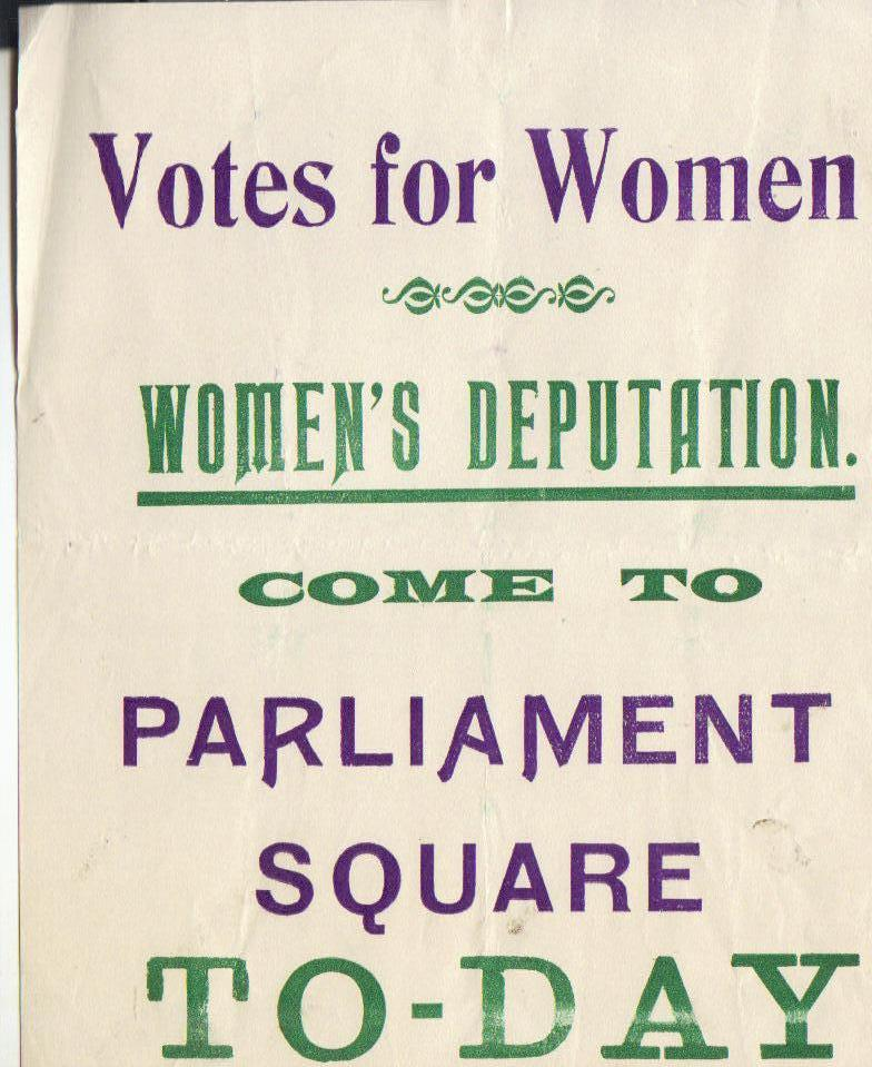 purple, green and white poster entitled Votes for Women