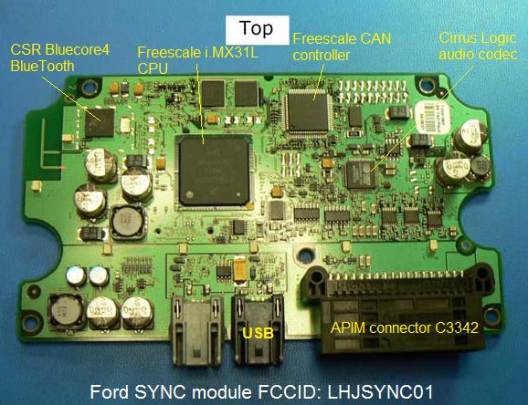 file ford sync module fccid lhjsync01 top of circuit board