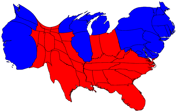 FileGastner Map Redblue Bypopulation Bystatepng Wikimedia Commons - Red and blue us map