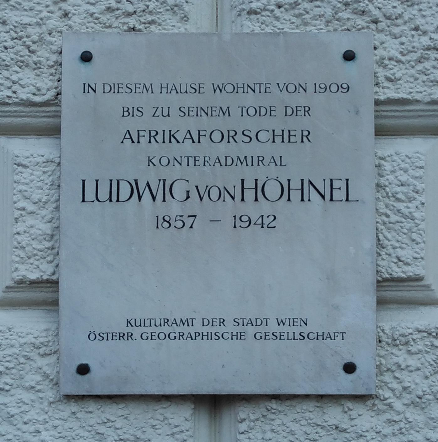 FileGedenktafel Ludwig Von Hhnel 1030 Wien Reisnerstrasse 61