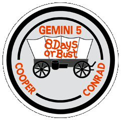 Cooper began the tradition of NASA mission insignia with this design for Gemini 5.