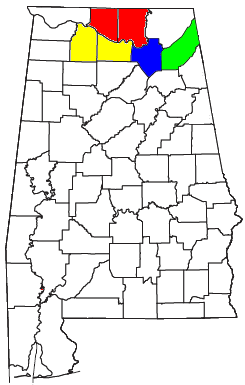 Location of Huntsville–Decatur–Albertville, AL