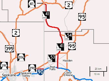 Idaho Highway 41 map