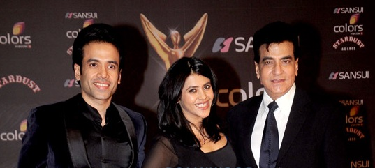 Jeetendra with his son Tusshar and daughter Ekta.jpg