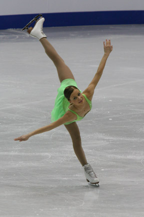Jenni Vähämaa performs a spiral during her sho...