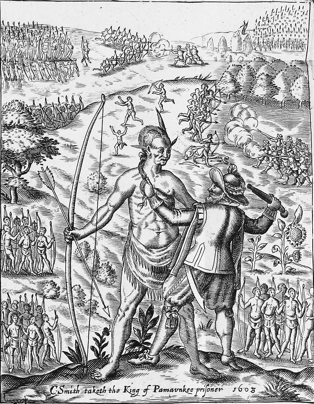 File:John Smith taking the King of Pamavnkee prisoner - etching.jpg