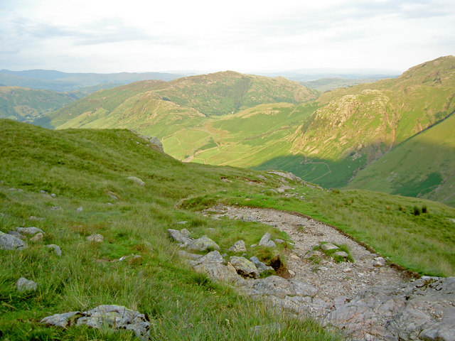 Looking ahead down the path. Lingmoor Fell is still in sunlight. - geograph.org.uk - 872362