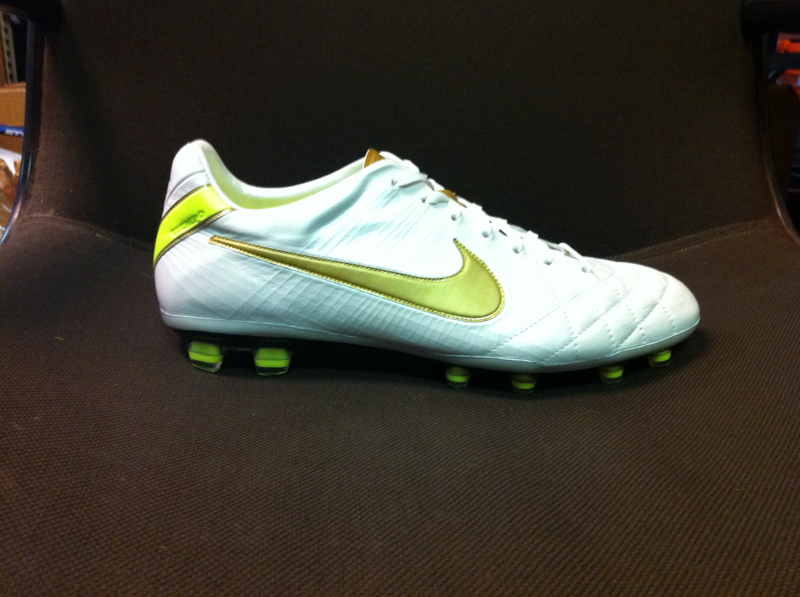 Nike Tiempo IV Elite White Gold Volt colorway 9942ade85
