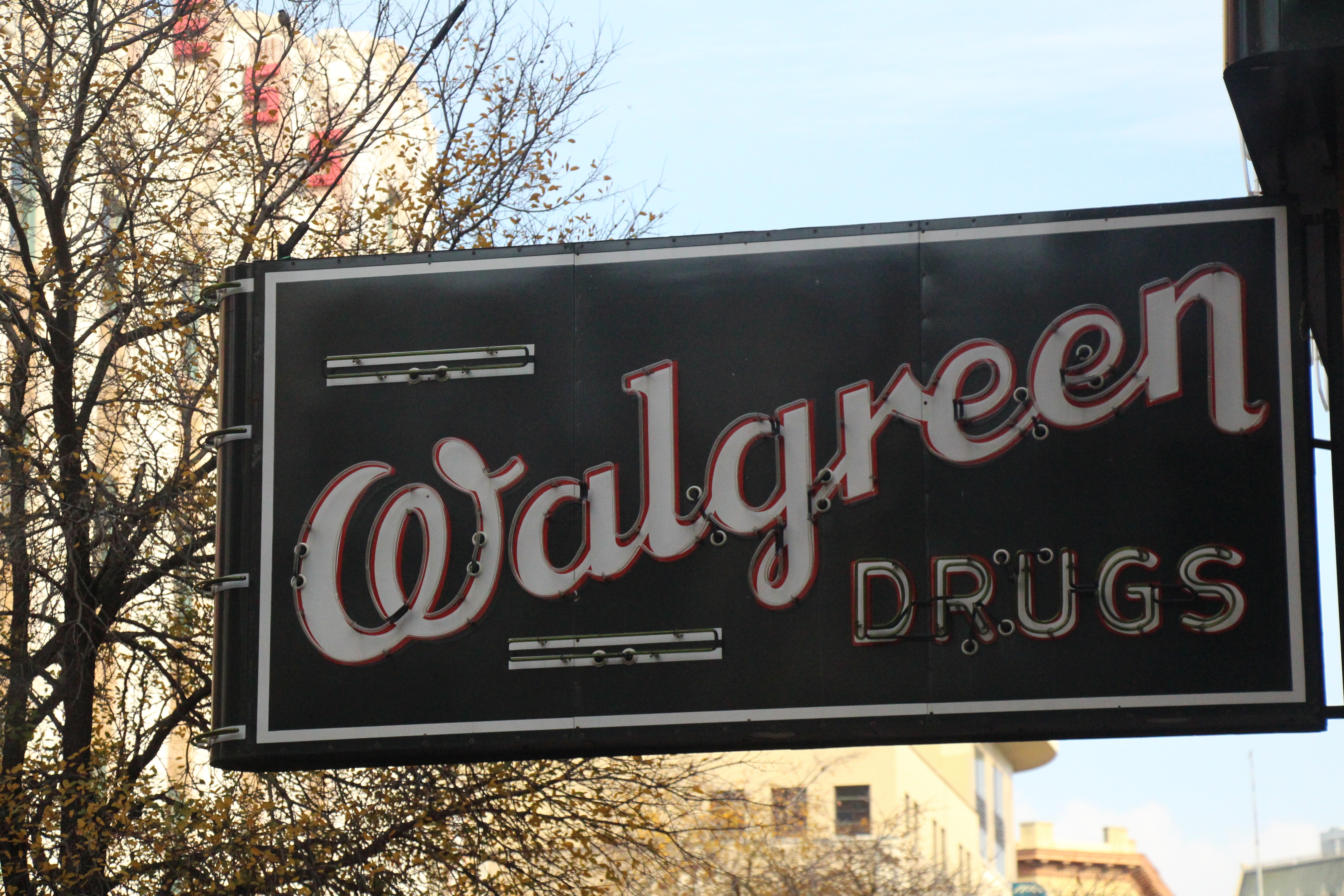 """Early """"Walgreen Drugs"""" sign still in use in San Antonio, Texas"""
