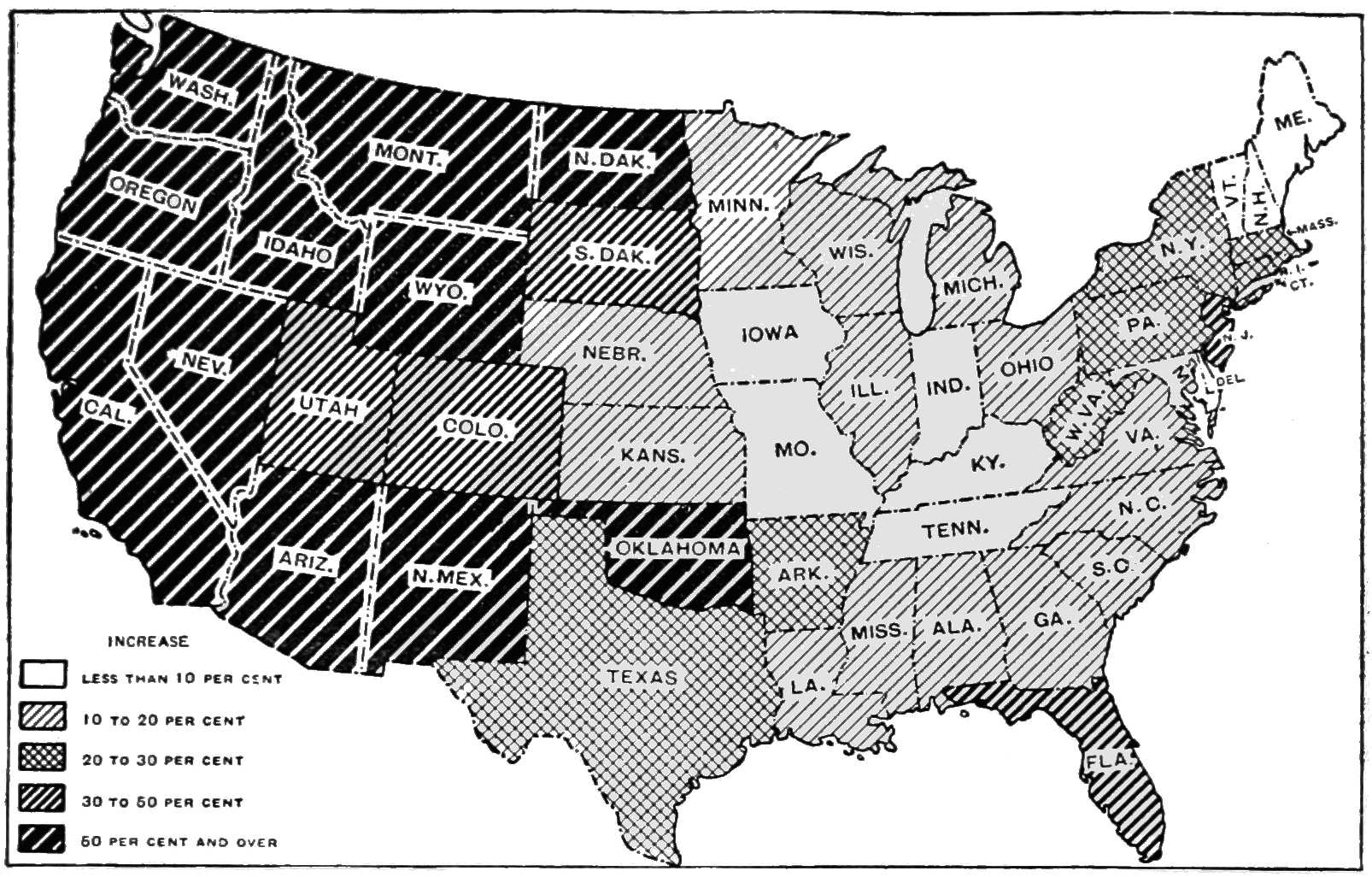 FilePSM V D Percent Increase Of Us Population Between - Map of us during 1900