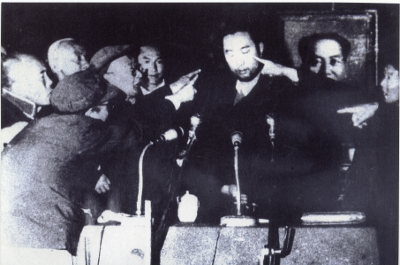 The Tibetan Panchen Lama during a struggle session. Panchen Lama during the struggle (thamzing) session 1964.jpg