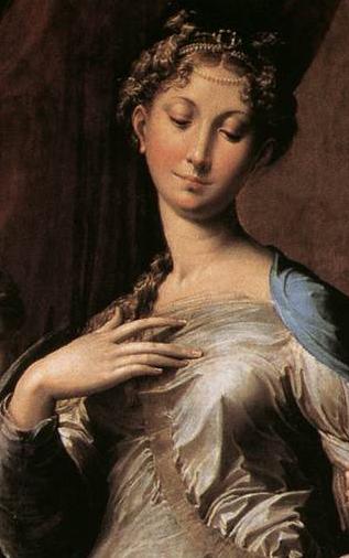 Madone au long cou, détail: la Vierge