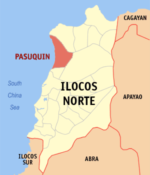 Map of Ilocos Norte showing the location of Pasuquin