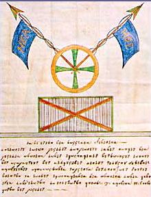 Emblema della Filikí Etería. Il drappo esibisce l'abbreviazione del motto della società, che è tutt'oggi quello della Grecia: «? ????????? ? ???????», «Libertà o morte.»