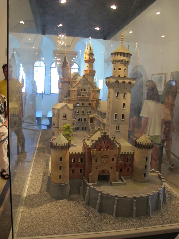 file:replicas of neuschwanstein castle inside the castle