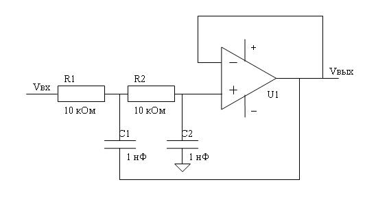 Активный фильтр низких частот (ФНЧ) для сабвуфера.