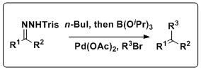 The Shapiro and Suzuki reactions are combined to yield a variety of alkene products.