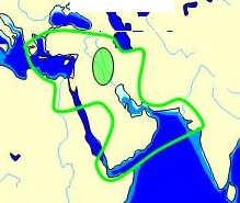 Known world of the Mesopotamian, Babylonian, and Assyrian cultures from documentary sources Spread of Oecumene Mesopotamia.jpg