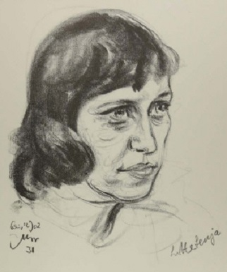 Drawing of Lotte Lenya from 1931 by Emil Stumpp