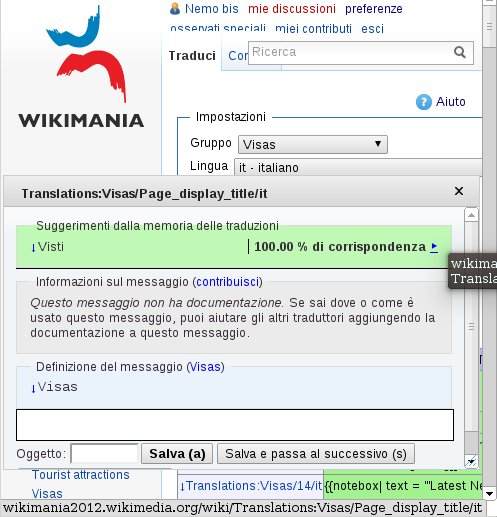 The translation editor on Wikimania 2013 wiki shows a suggestion from Wikimania 2012 wiki