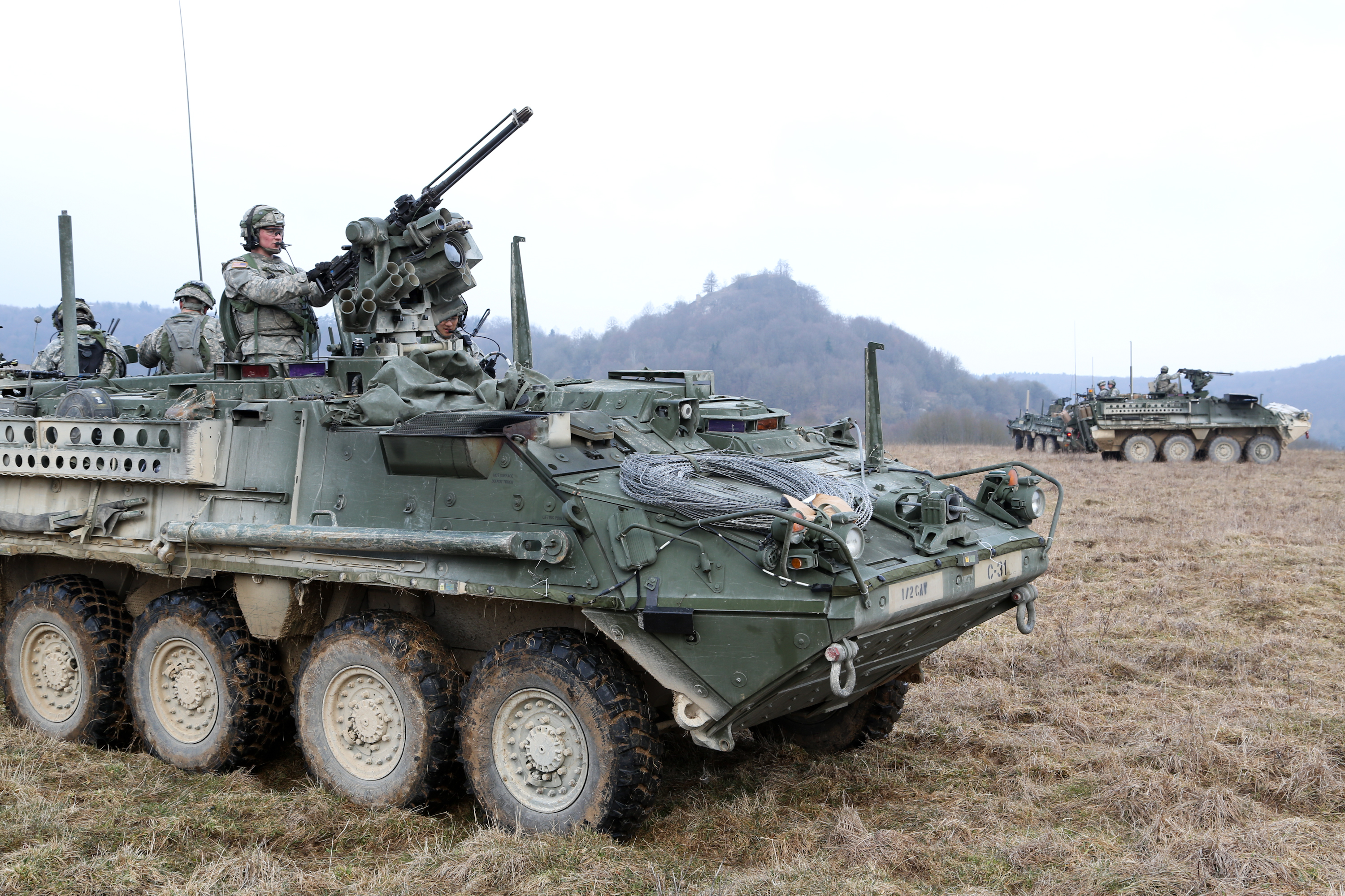 Security in stryker armored vehicles during a mission rehearsal