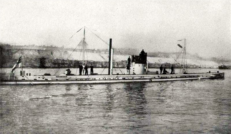 The German submarine SM U-9, which sank three British cruisers in less than an hour in September 1914 U9Submarine.jpg