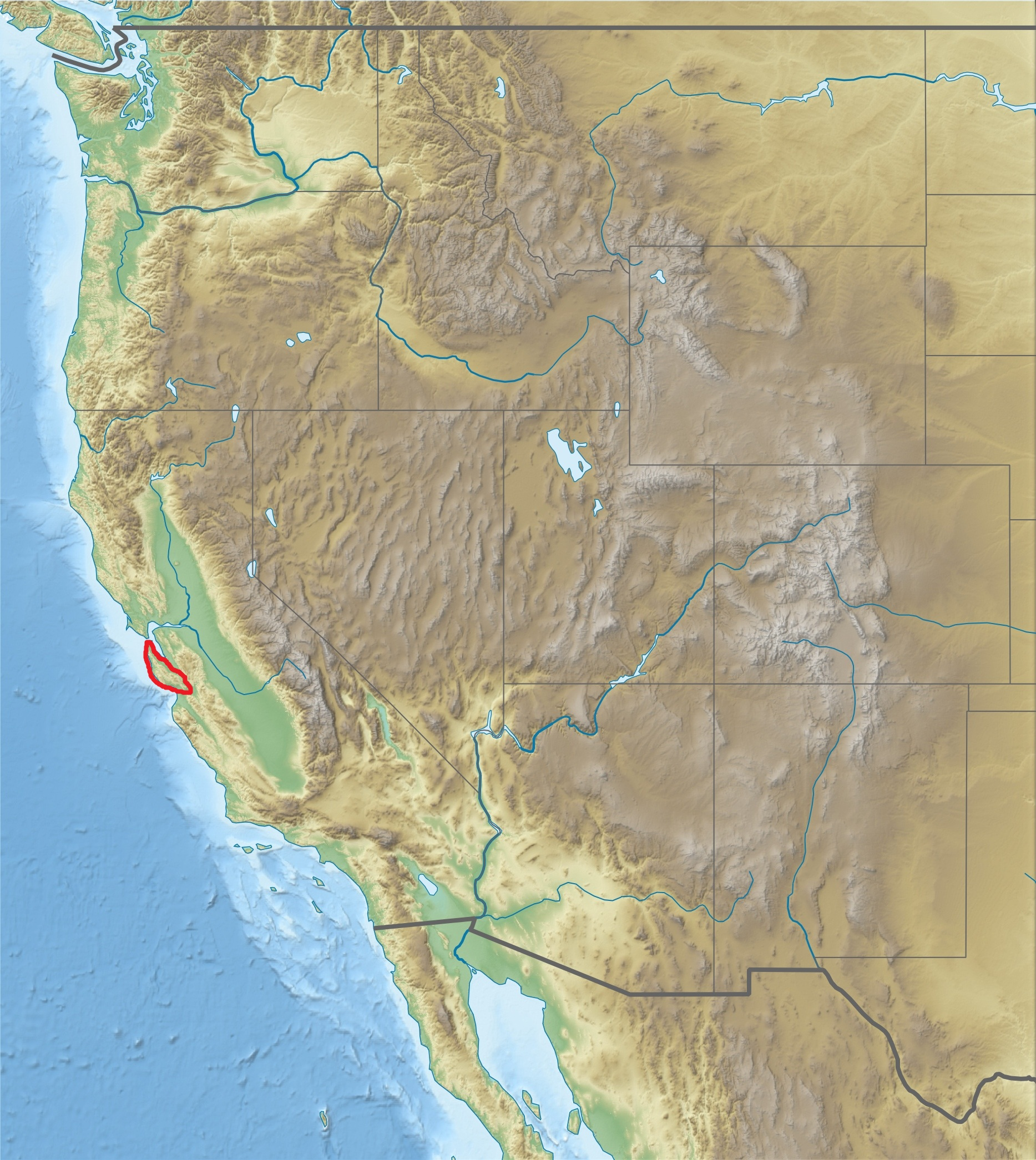 FileUSA Region West Relief Santa Cruz Mountains Location Mapjpg - Us relief map