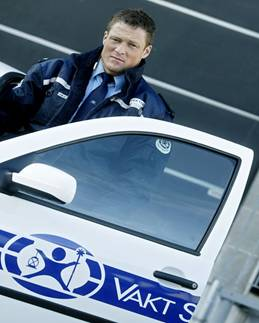 Security officer with vehicle in Norway.