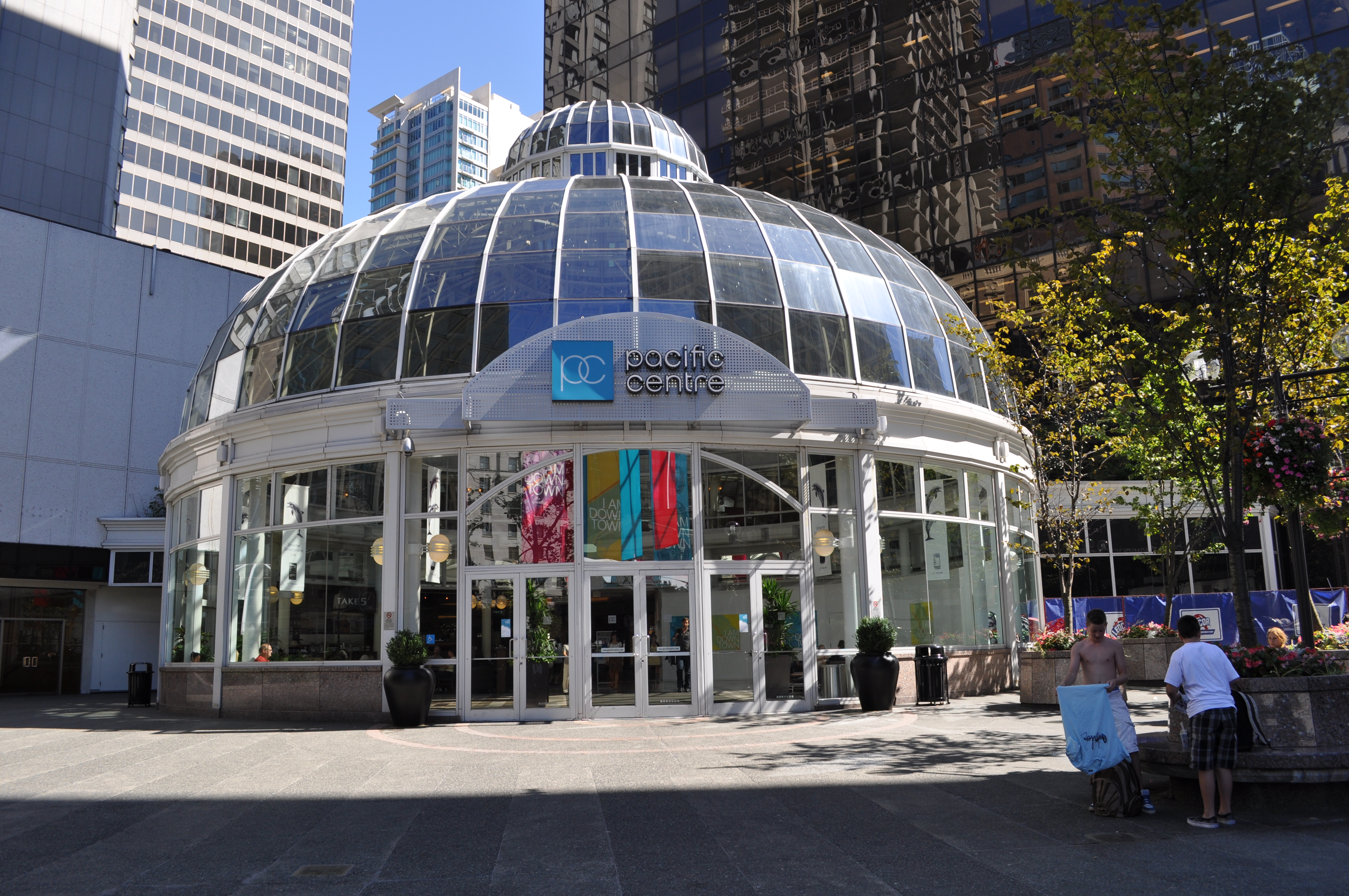 Pacific Centre Mall is directly accessible through the Canada Line skytrain and across the street from the Expo/Millennium Line skytrain.