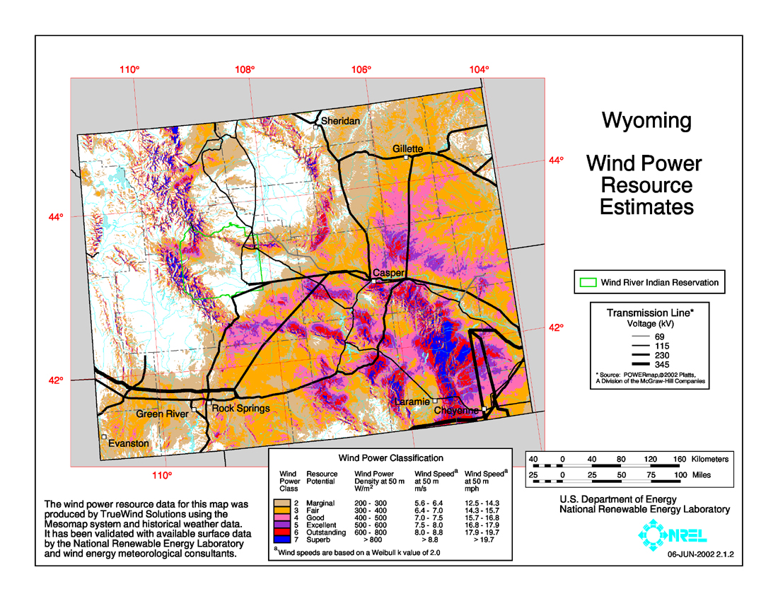 Wind Power In Wyoming Wikipedia - Us wind energy map