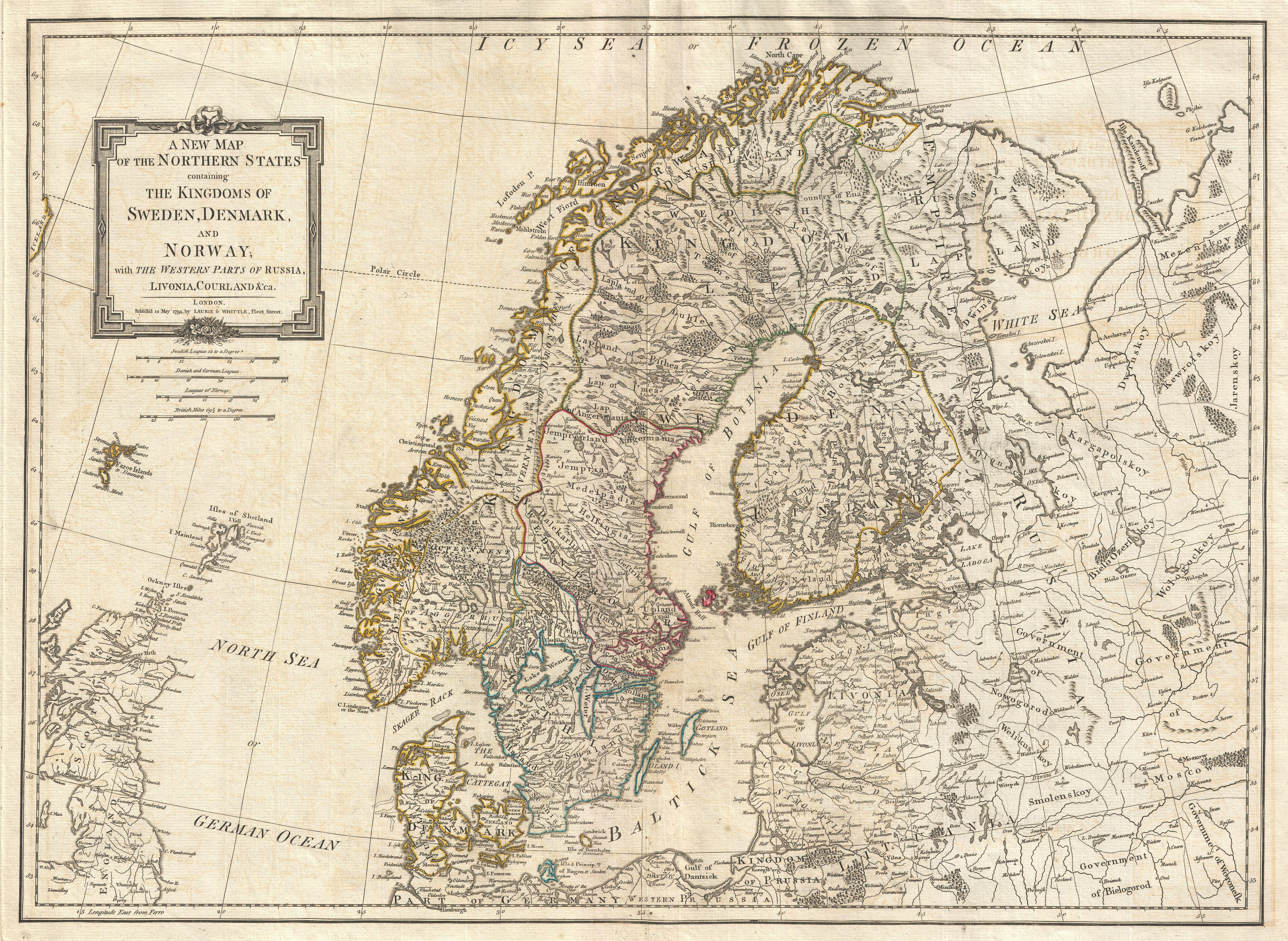 File Laurie And Whittle Map Of Norway Sweden Denmark And - Sweden map history