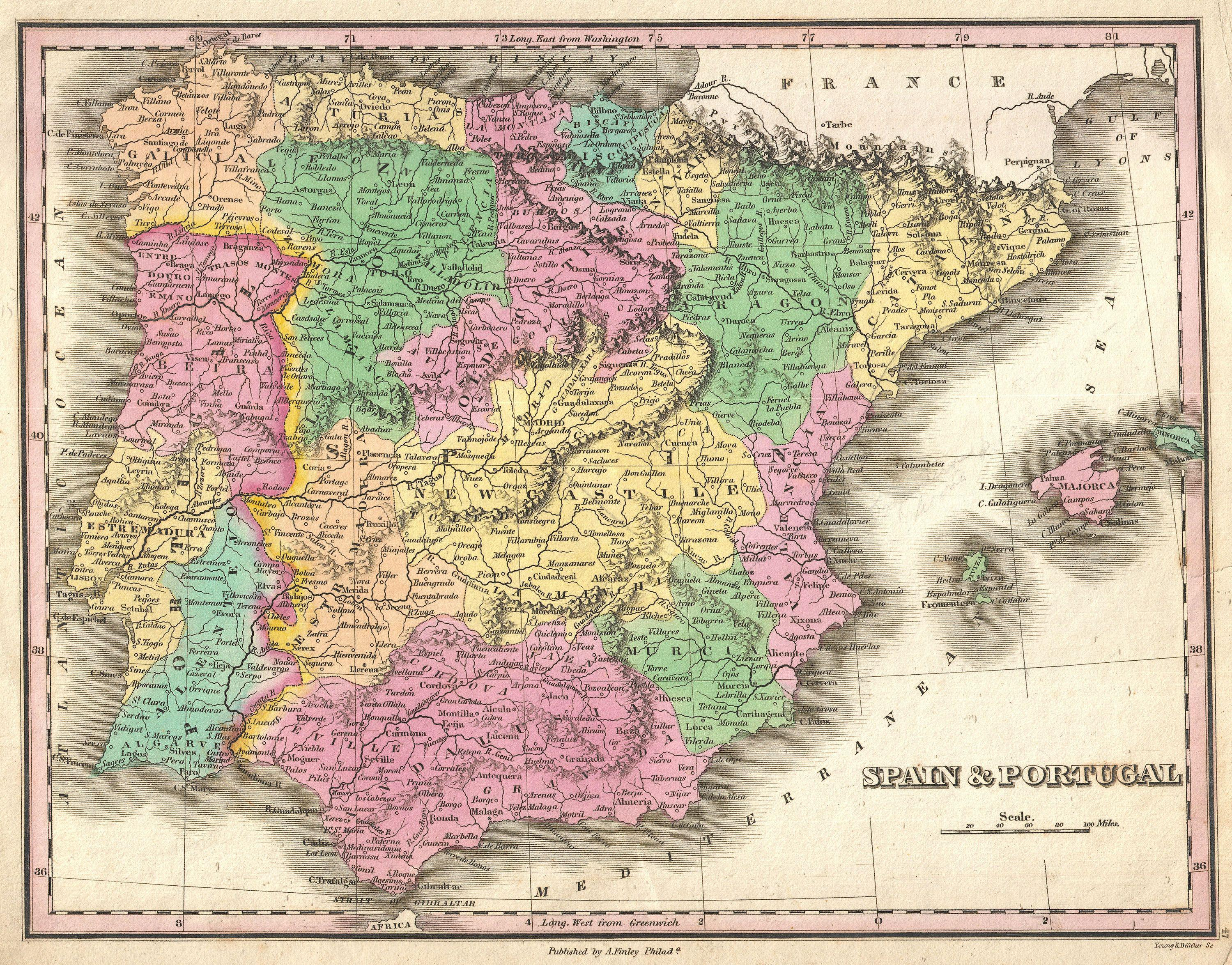 Map Of Portugal And Spain Detailed.File 1827 Finely Map Of Spain And Portugal Geographicus