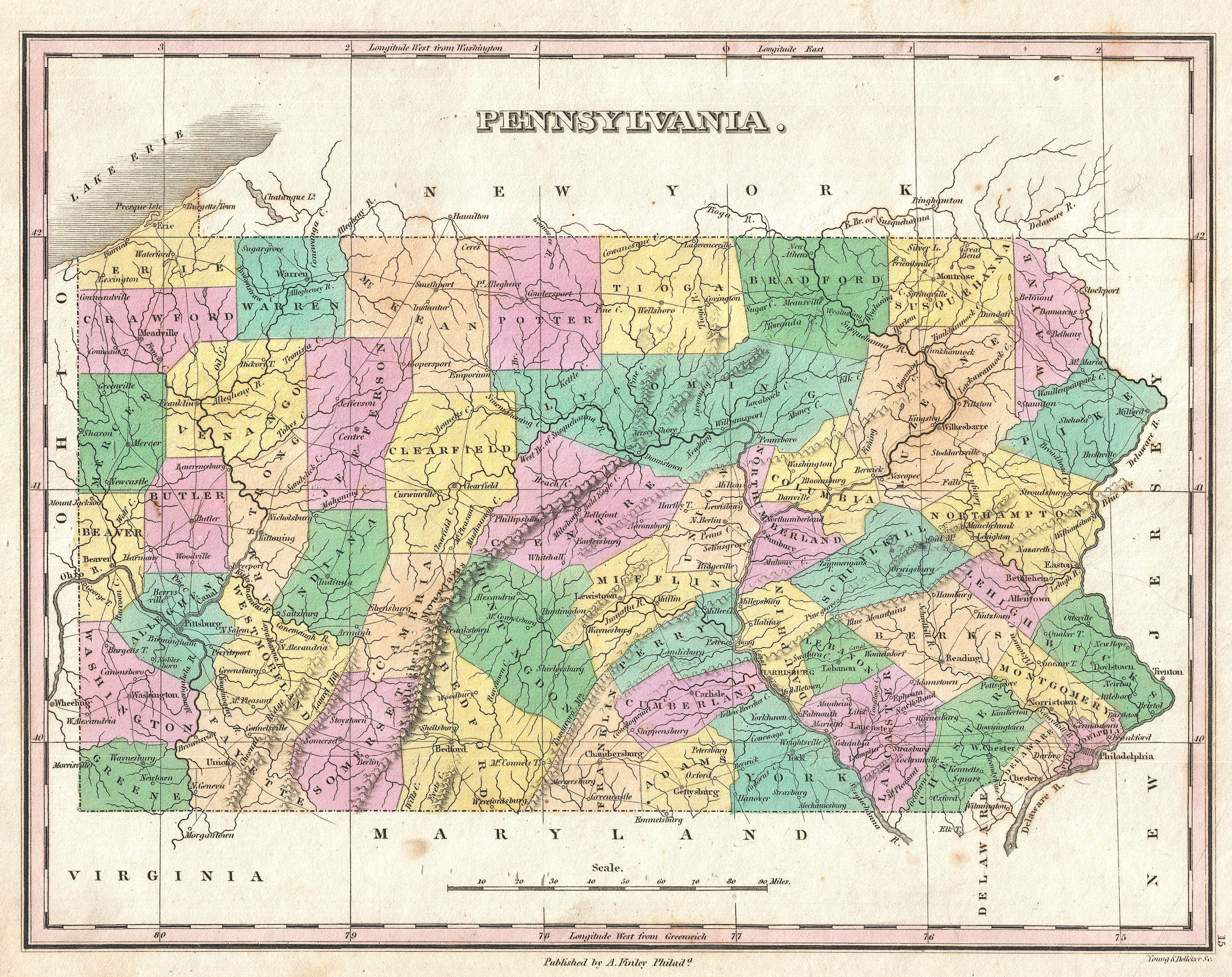 File Finley Map Of Pennsylvania Geographicus Pennsylvania - Map of pennsylvania