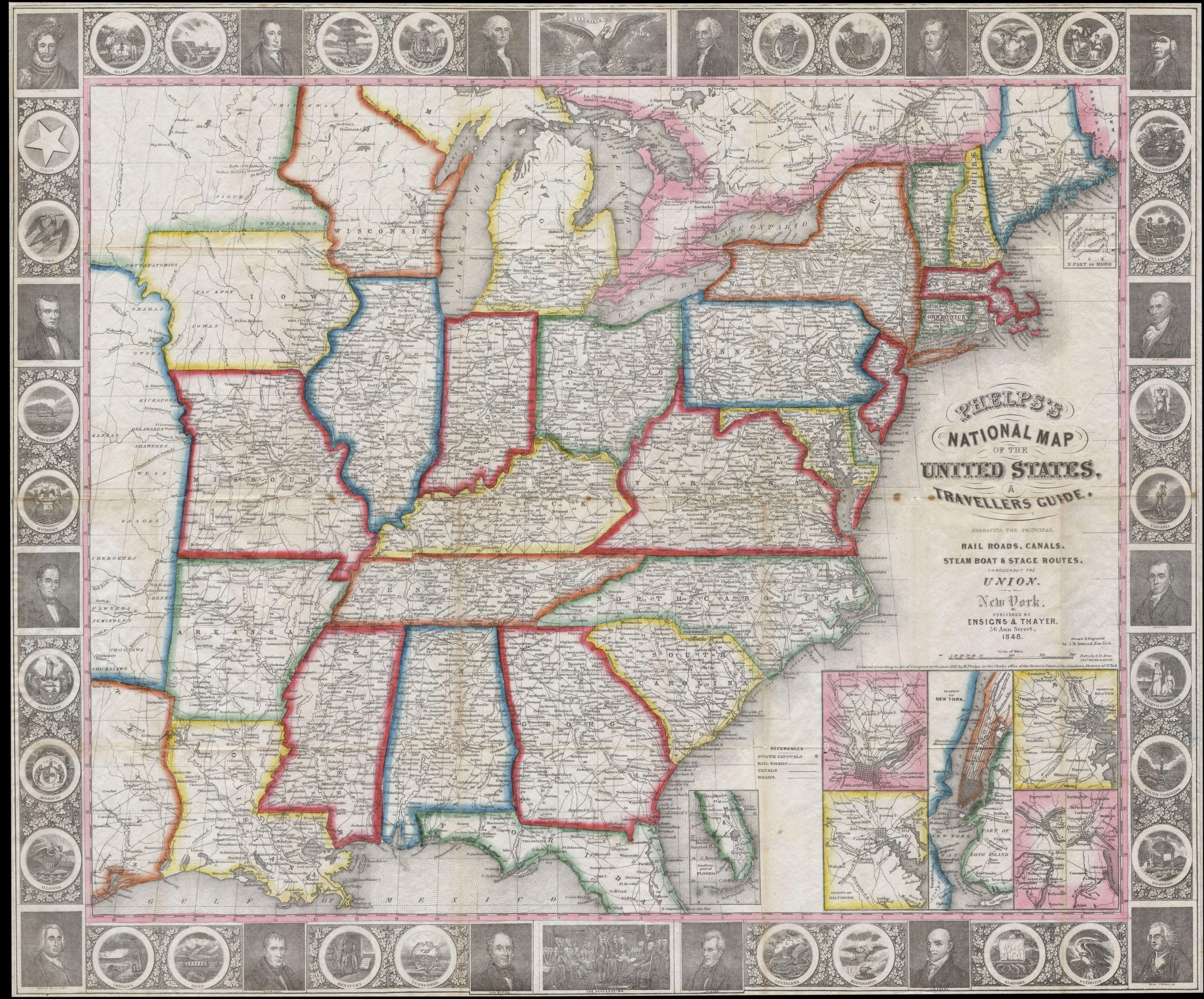 File Phelps National Map Of The United States Pocket Map - 1848 us map