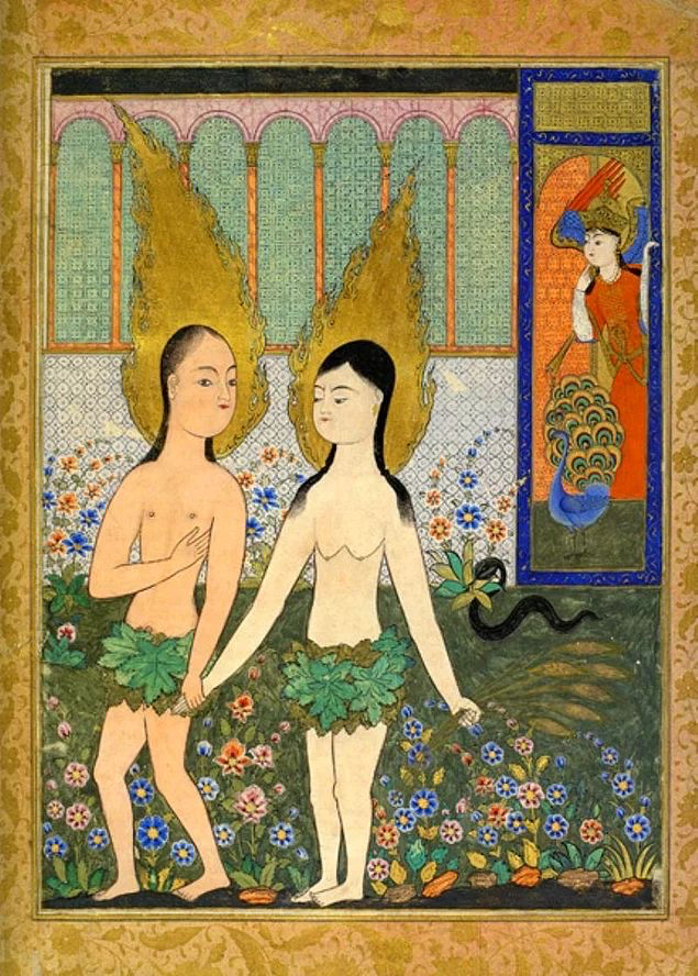 Adam and Eve expelled from Paradise, from a Fal-nameh manuscript, Topkapi Palace library, Istanbul.