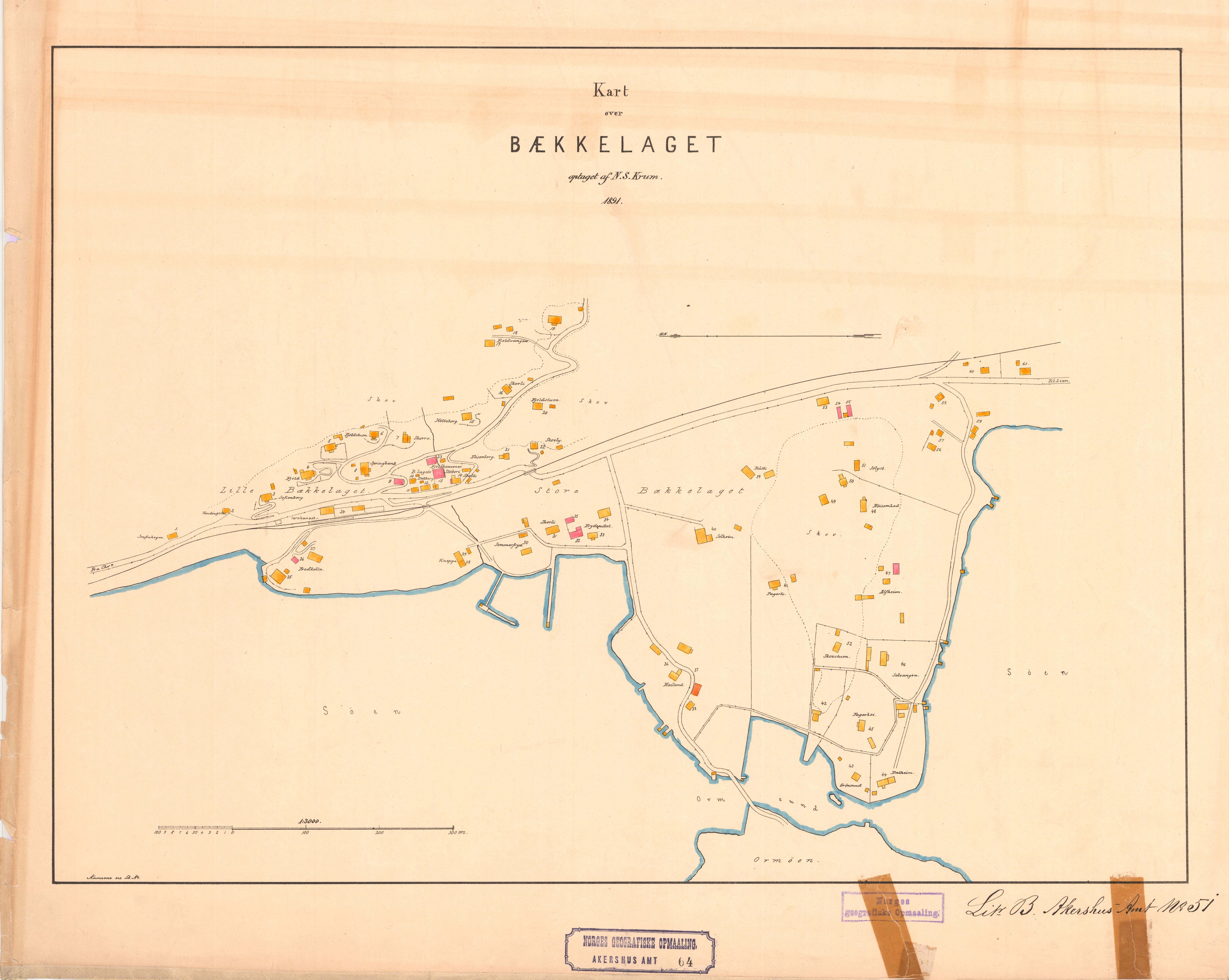 File Akershus Amt Nr 64 Kart Over Baekkelaget 1891 Jpg
