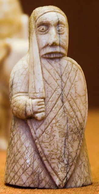 Rook, Lewis chessmen, at the British Museum in London Beserker, Lewis Chessmen, British Museum.jpg