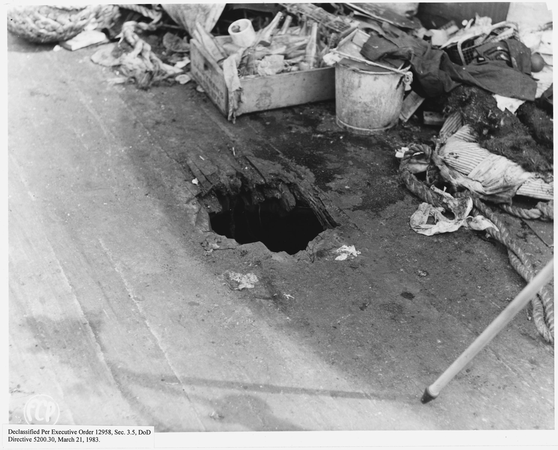 Salvage Title California >> File:Bomb hole through upper deck, USS California - NARA ...