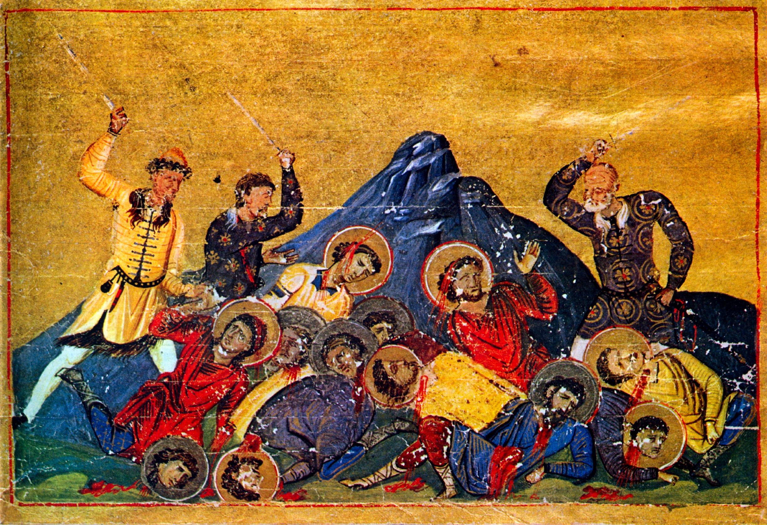 Bulgarske krigere slakter ned bysantinere, miniatyr fra Basilios IIs Menologium (985), Vatikanbiblioteket