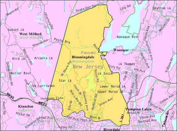 Census Bureau map of Bloomingdale, New Jersey