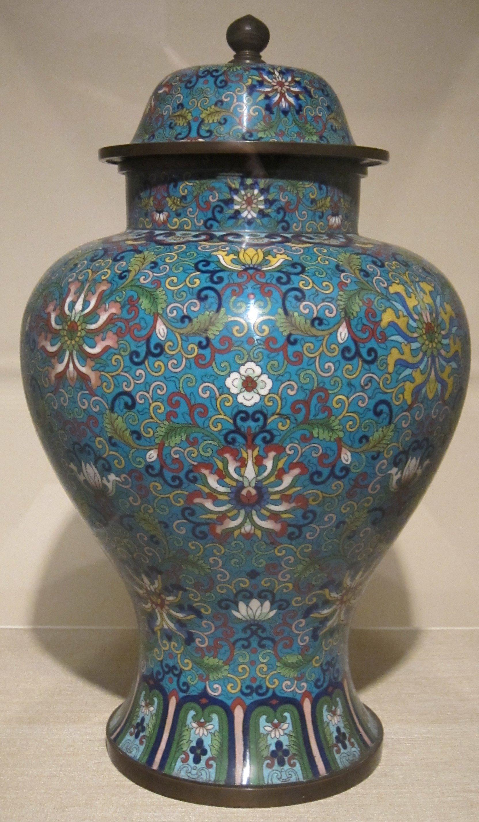 File Chinese Cloisonn 233 Jar With Lid 19th Century Dayton