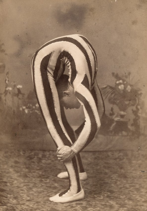 Contortionist, doing a backbend circa 1880