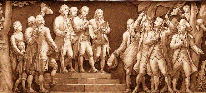 Idealized image of John Adams, Thomas Jefferson, and Benjamin Franklin reading the Declaration of Independence to colonists.