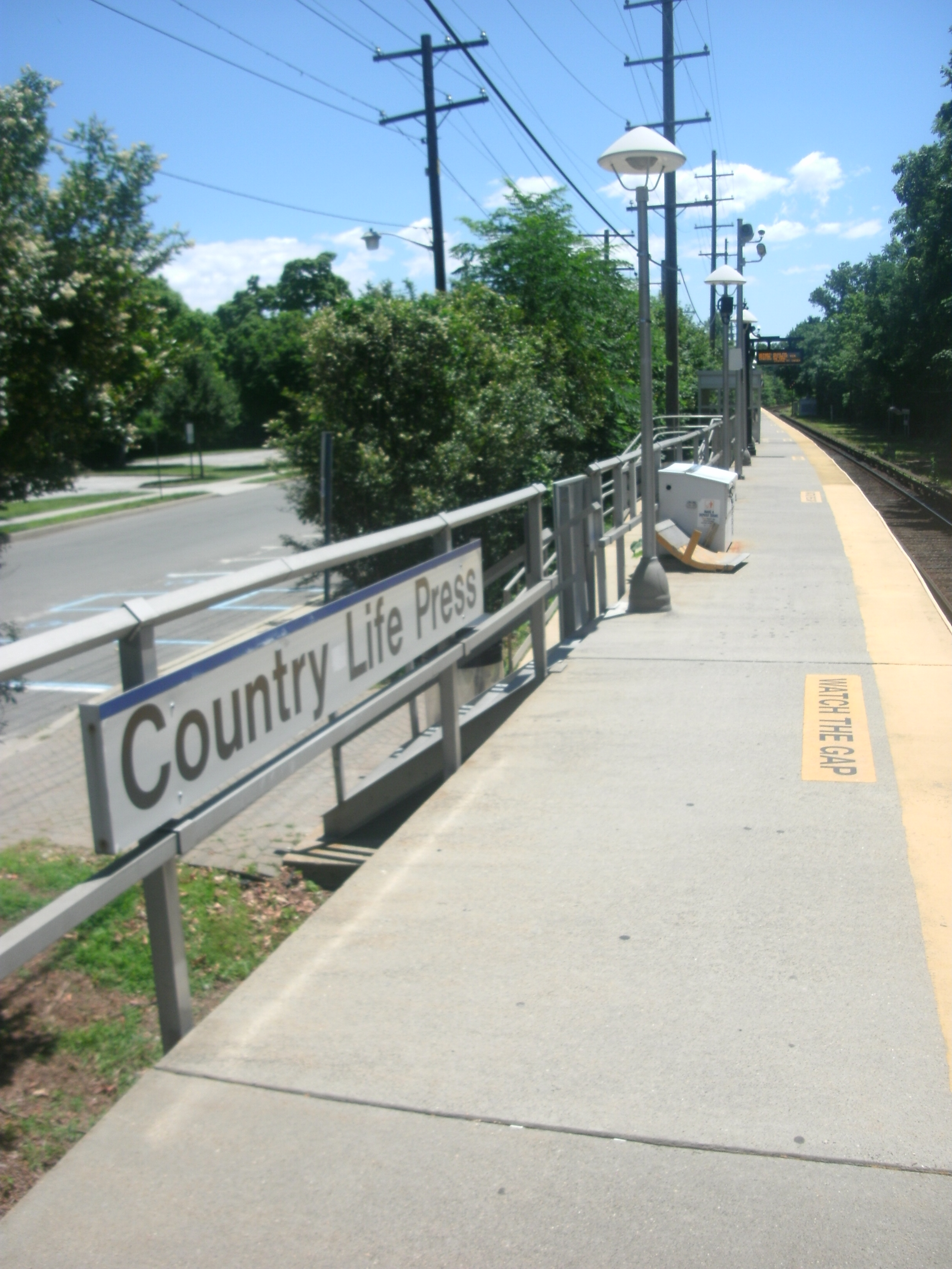 The station at Country Life Press, facing Hempstead-bound in June 2012
